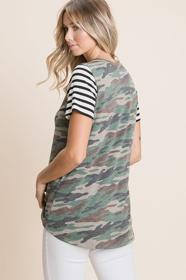 Mixed Media Camo Top