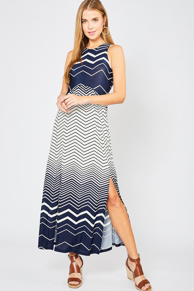 Navy Zig Zag Maxi Dress