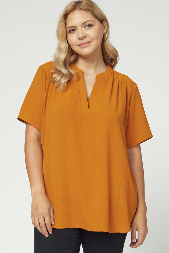 Split V-Neck Crinkle Top, 3 Colors