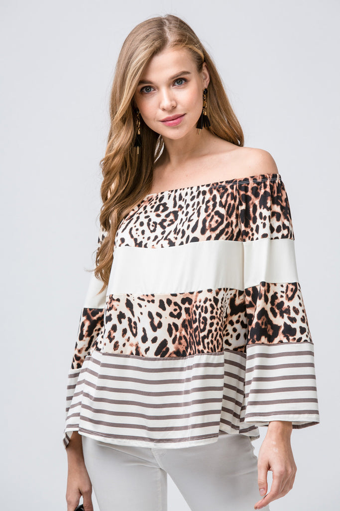 Leopard Off the Shoulder Top