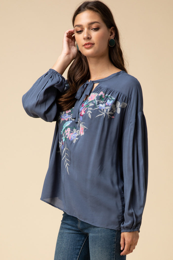 Slate Floral Embroidered Top
