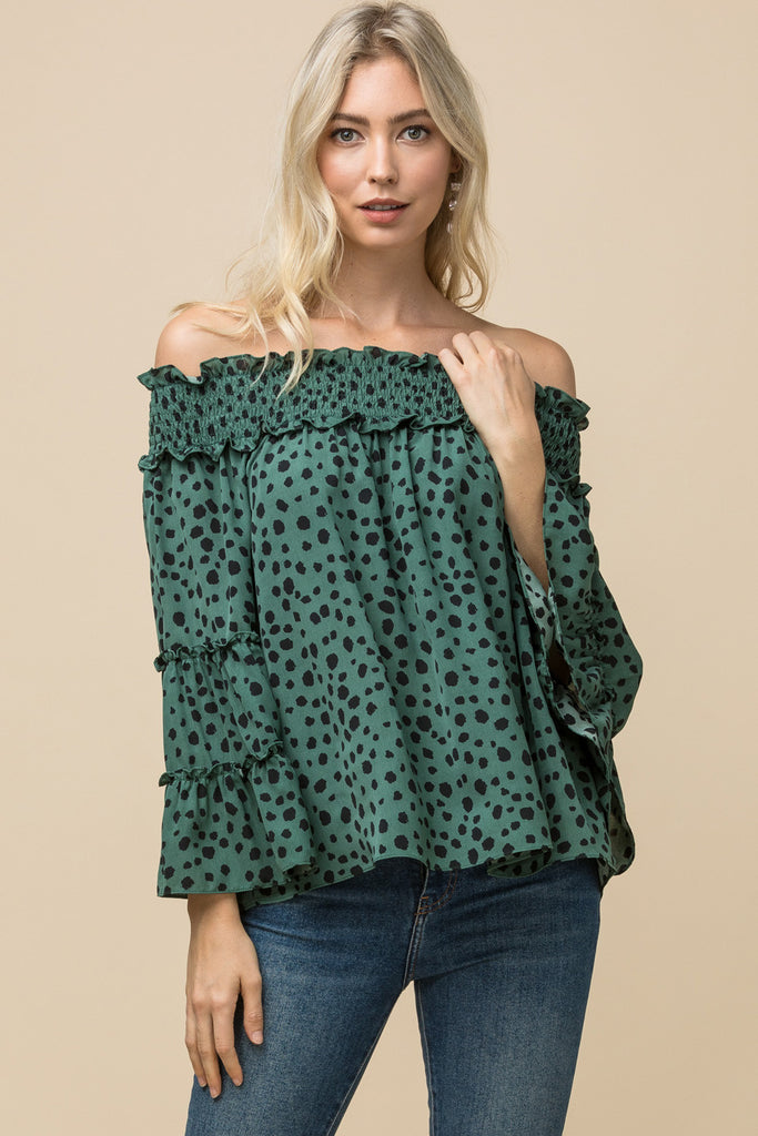 Sea Green Dotted Blouse