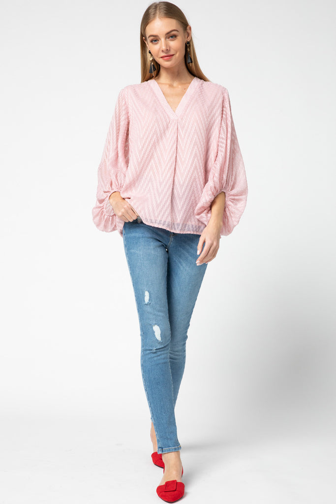 Blush Chevron Sleeve Blouse
