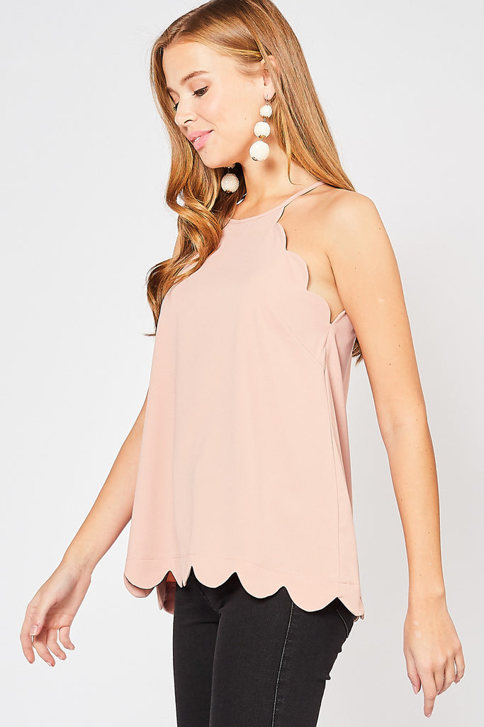 Blush Scallop Edge Top