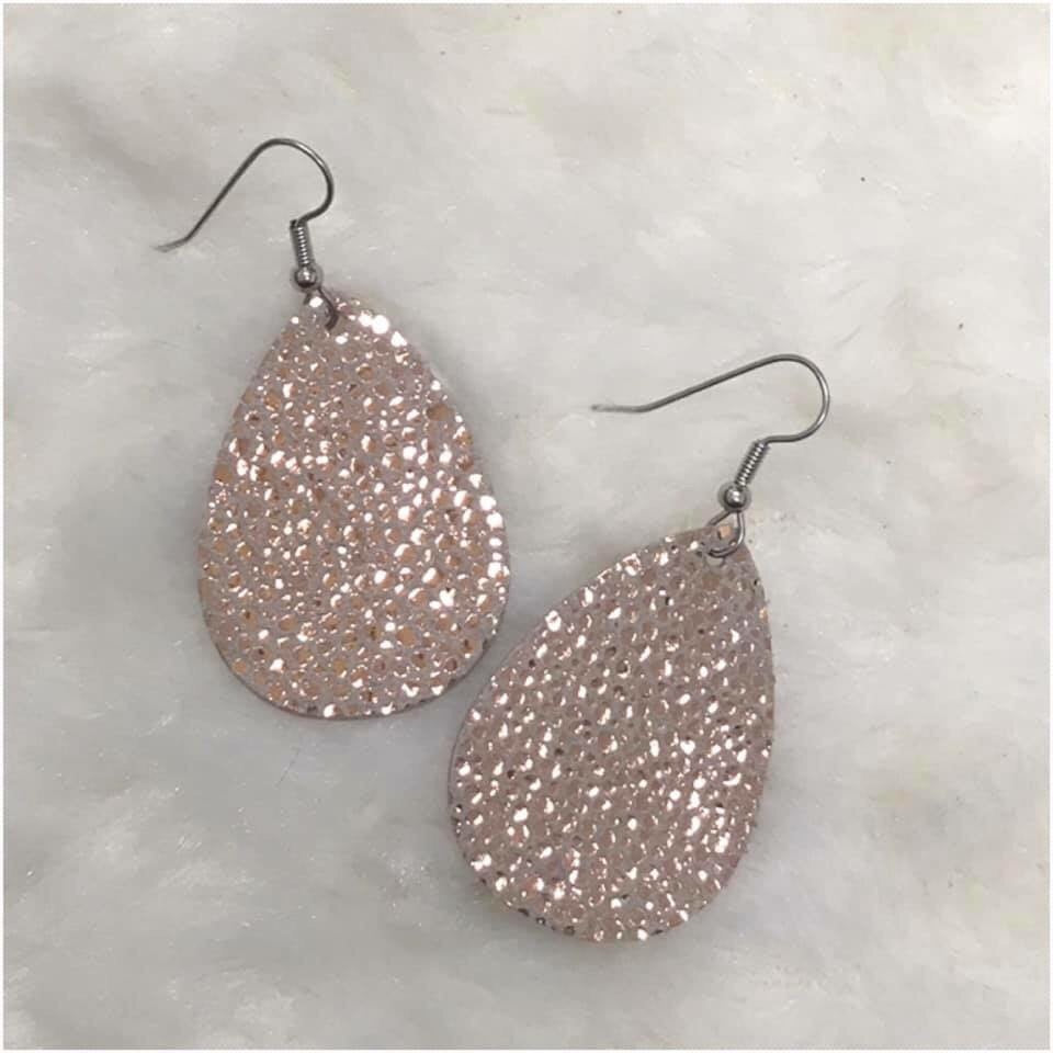 "1.5"" Leather Teardrop Earrings, Many Colors"