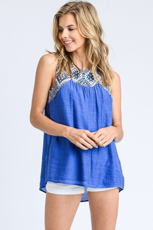 Cobalt Embroidered Lace Back Tank