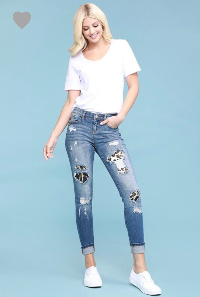 Distress Leopard Jeans