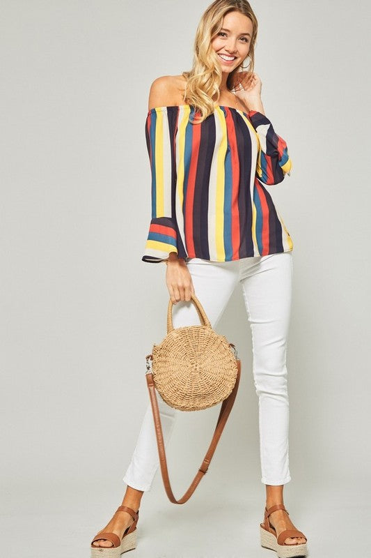 Bold Stripe Off The Shoulder