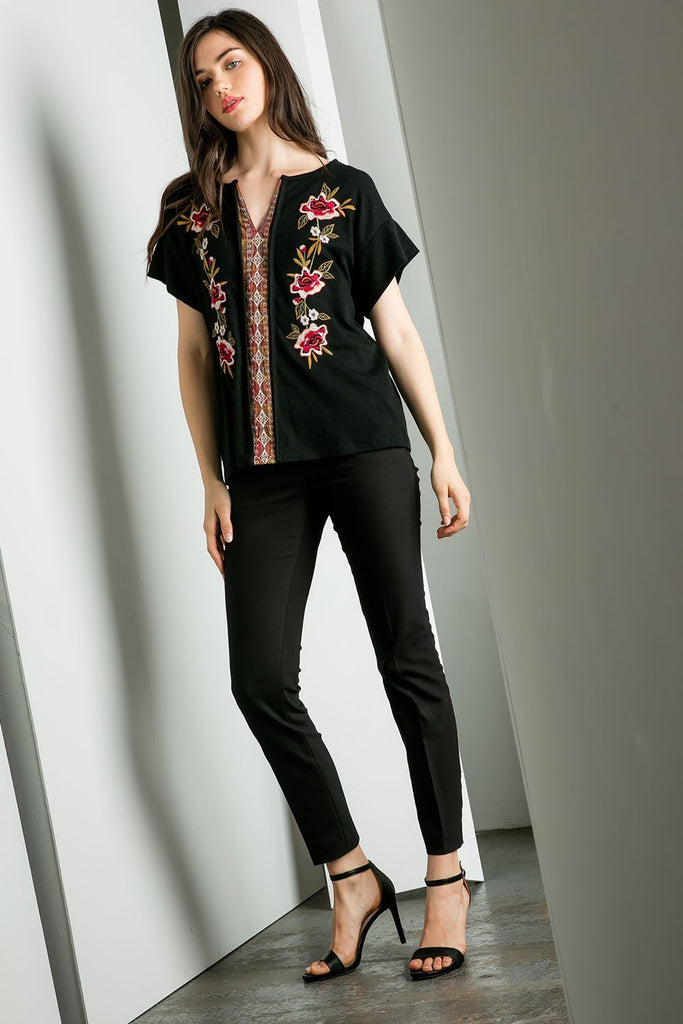 Black Floral Embroidered Sweater