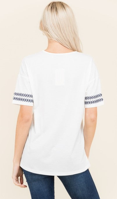 Embroidered Knit T-Shirt - 2 colors