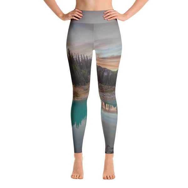 Turquoise Lake Sunrise Yoga Leggings