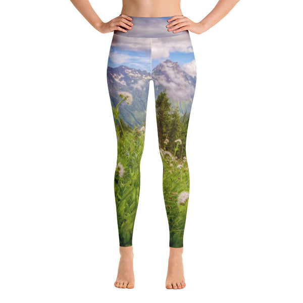 Deep in the Mountains Where the Wildflowers Grow Yoga Leggings