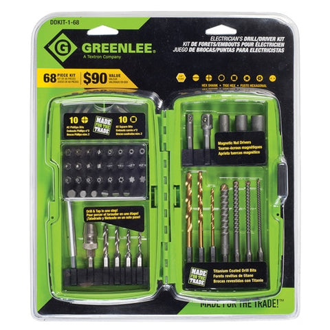 Greenlee DDKIT-1-68 68 Piece Electrician's Drill/Driver Kit