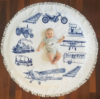 Planes, Trains & Automobiles - Baby Milestone Blanket & Matching Sticker GIFT SET