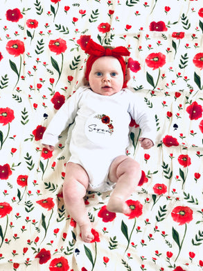 Red Poppies Muslin - Baby Milestone Muslin GIFT SET