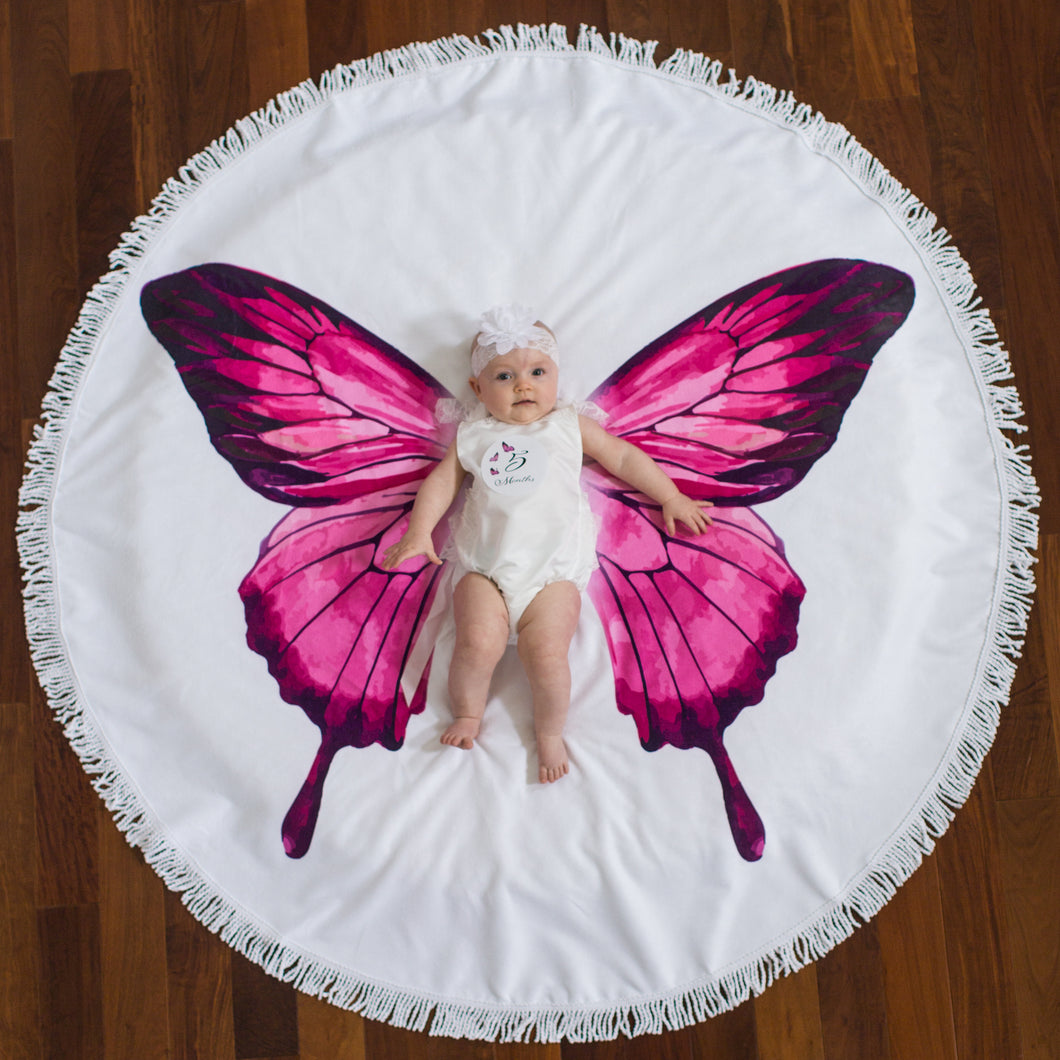 Pink Butterfly - Baby Milestone Blanket GIFT SET