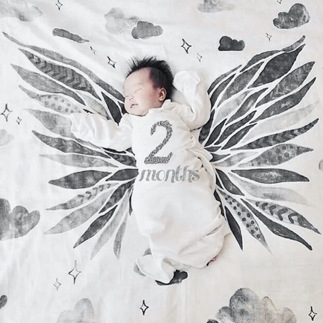 Gray Scale Wings Milestone Blanket