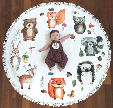 Woodland Friends -  Baby Milestone Blanket & Matching Sticker GIFT SET