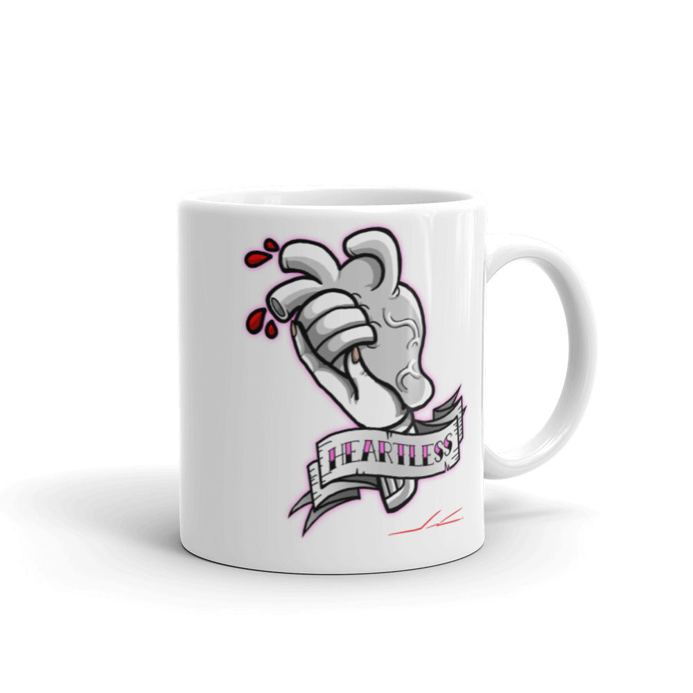 Heartless BW White glossy mug