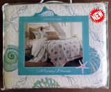Tropical Seaglass Seashells ☆ Full/Queen Set Quilt Set ☆ 3-pc