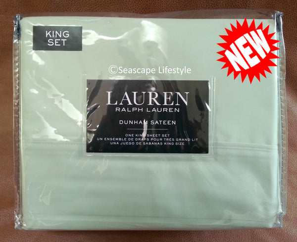 Dunham King Sheet Set ☆ PISTACHIO GREEN 100% Cotton Sateen ☆ 4-pc