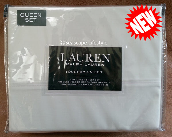Dunham Queen Sheet Set ☆ WHITE SMOKE 100% Cotton Sateen ☆ 4-pc