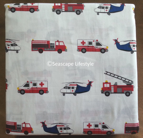 Emergency 911 Vehicles ☆ Twin Sheet Set ☆ 3-pc