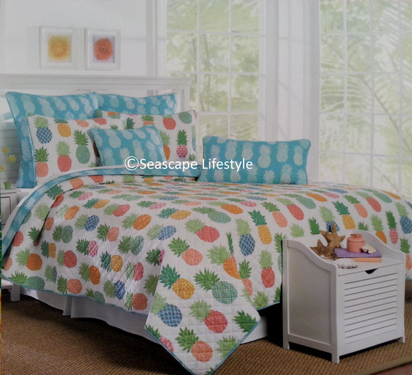 ☆ Tropical Pineapple ☆ Full/Queen Quilt Set ☆ 5-pc