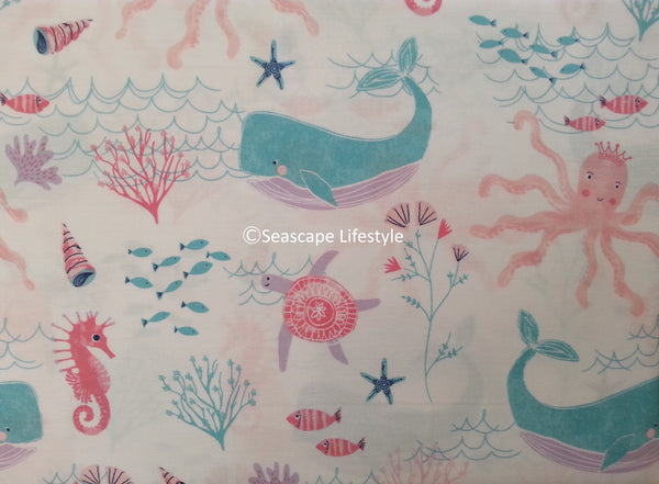 Whimsical Sea Creatures ☆ Twin Sheet Set ☆ 3-pc