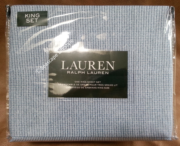 King Sheet Set ☆ TATTERSALL BLUE 100% Cotton ☆ 4-pc