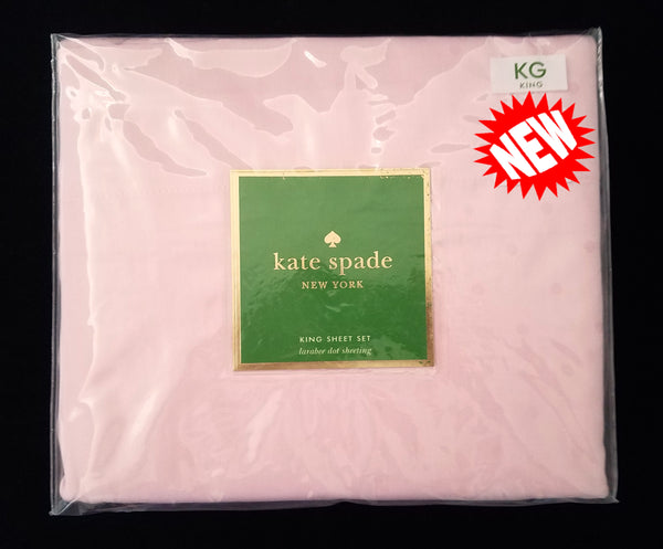 Larabee Dot King Sheet Set ☆ PINK PEACH 100% Cotton ☆ 4-pc