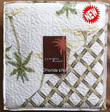 Tropical Island Palm Trees ☆ King Quilt Set ☆ 4-pc