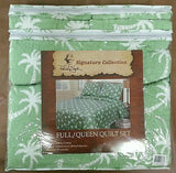 Tropical Palm Trees ☆ Full/Queen Quilt Set ☆ 3-pc