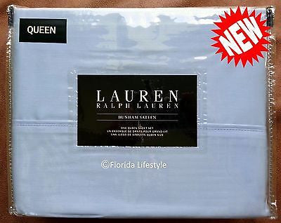 Dunham Queen Sheet Set ☆ CELESTIAL BLUE 100% Cotton Sateen ☆ 4-pc