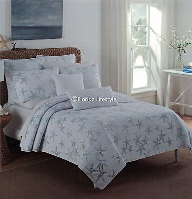 Tropical Silver Starfish ☆ Full/Queen Quilt Set ☆ 5-pc