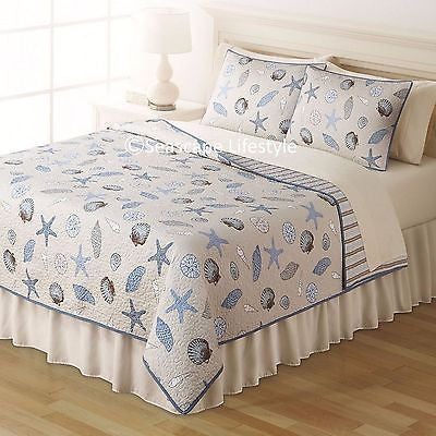 Tropical Seashells ☆ Twin Quilt Set ☆ 2-pc