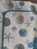 Tropical Sand Dollars ☆ Full/Queen Quilt Set ☆ 3-pc