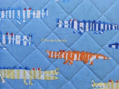 Candy Striped Alligators ☆ Full/Queen Quilt Set ☆ 3-pc