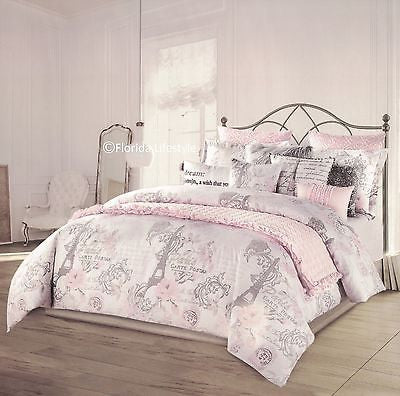 I Love Paris ❤ Twin XL Comforter Pink Coverlet Set ❤ 5-pc