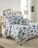 Porcelain Blue Tropical Fish ☆ Full/Queen Quilt Set ☆ 3-pc