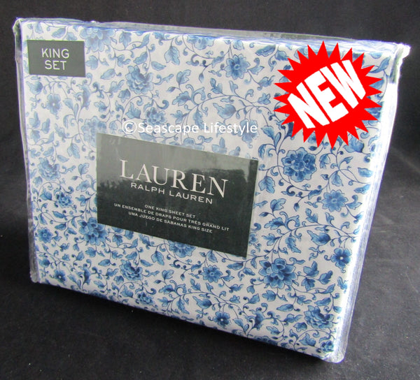 King Sheet Set ☆ BLUE PORCELAIN 100% Cotton ☆ 4-pc