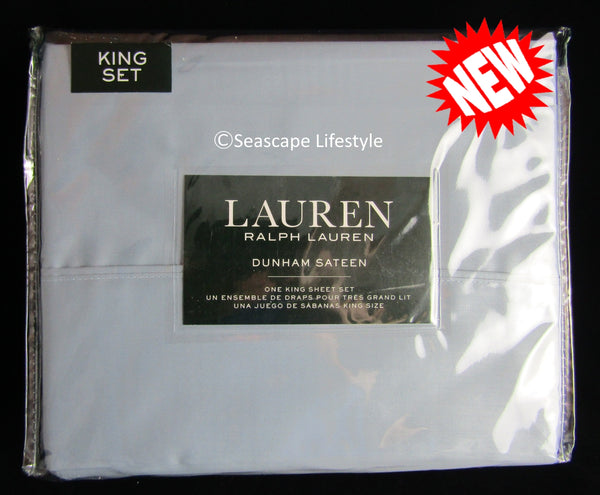 Dunham King Sheet Set ☆ MIST BLUE 100% Cotton Sateen ☆ 4-pc