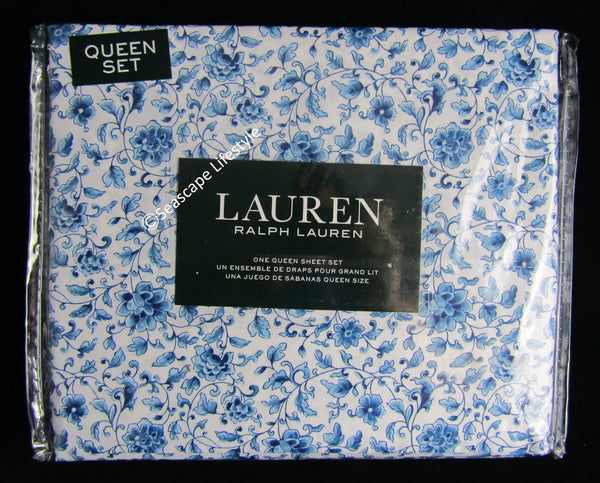 Queen Sheet Set ☆ BLUE PORCELAIN 100% Cotton ☆ 4-pc