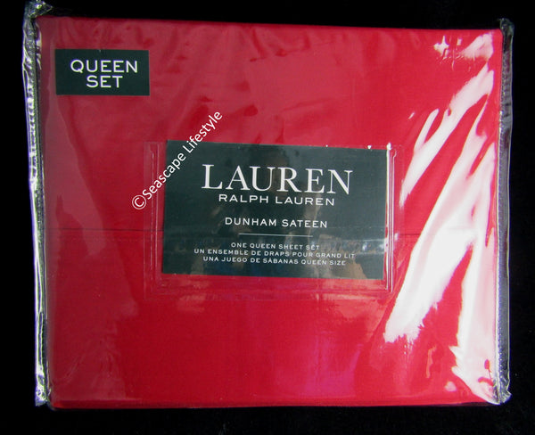Dunham Queen Sheet Set ☆ ADMIRAL RED 100% Cotton Sateen ☆ 4-pc