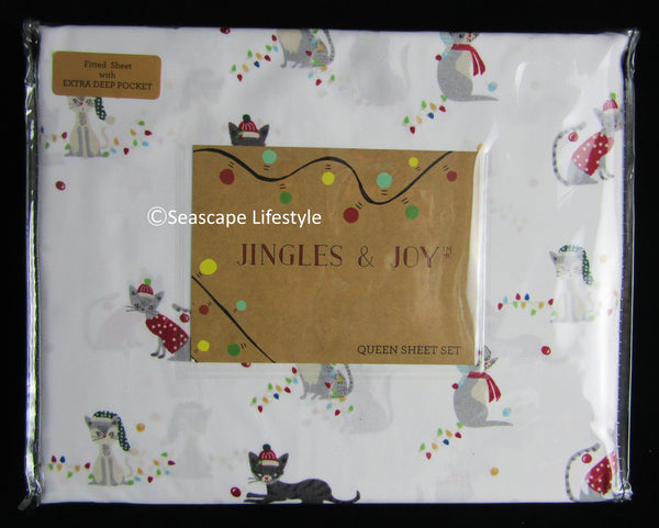 Christmas Cats ☆ Queen Sheet Set ☆ 4-pc