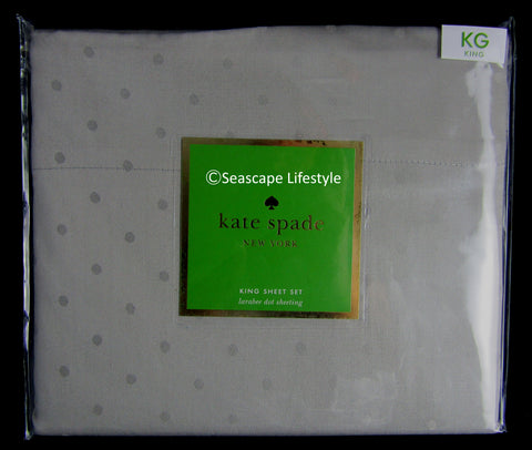 Larabee Dot King Sheet Set ☆ MEDIUM GRAY 100% Cotton ☆ 4-pc