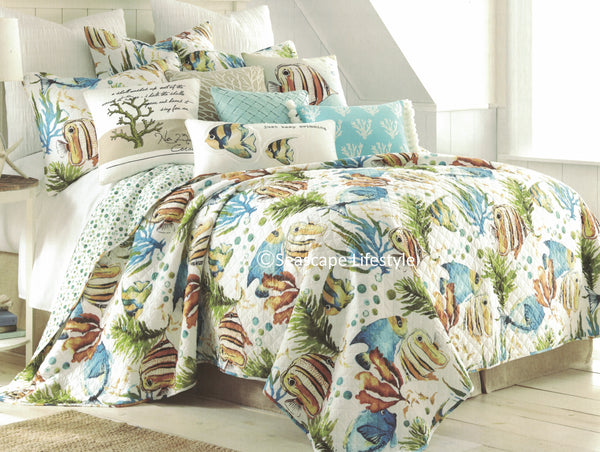 Tropical Reef Fish ☆ Full/Queen Quilt Set ☆ 3-pc