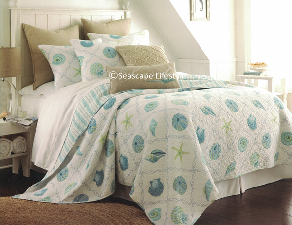 Tropical Seaglass Seashells ☆ Twin Set Quilt Set ☆ 2-pc