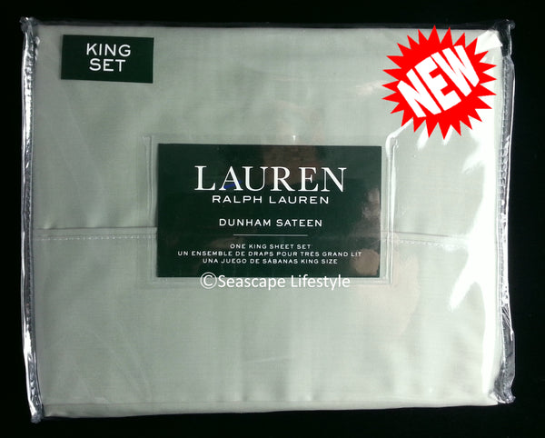 Dunham King Sheet Set ☆ MOSS GREEN 100% Cotton Sateen ☆ 4-pc
