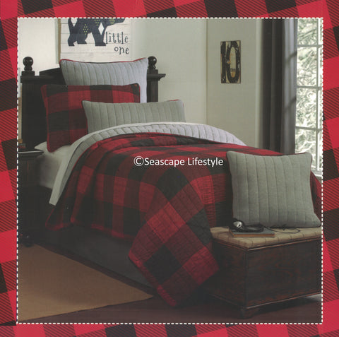 Cozy Plaid ☆ Full/Queen Quilt Set ☆ 3-pc